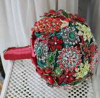 Vintage Style HandMade DIA 20cm Luxury Wedding Jewelry Bridal Bouquet Red Green Color Crystal Brooches Bride Holding Flower