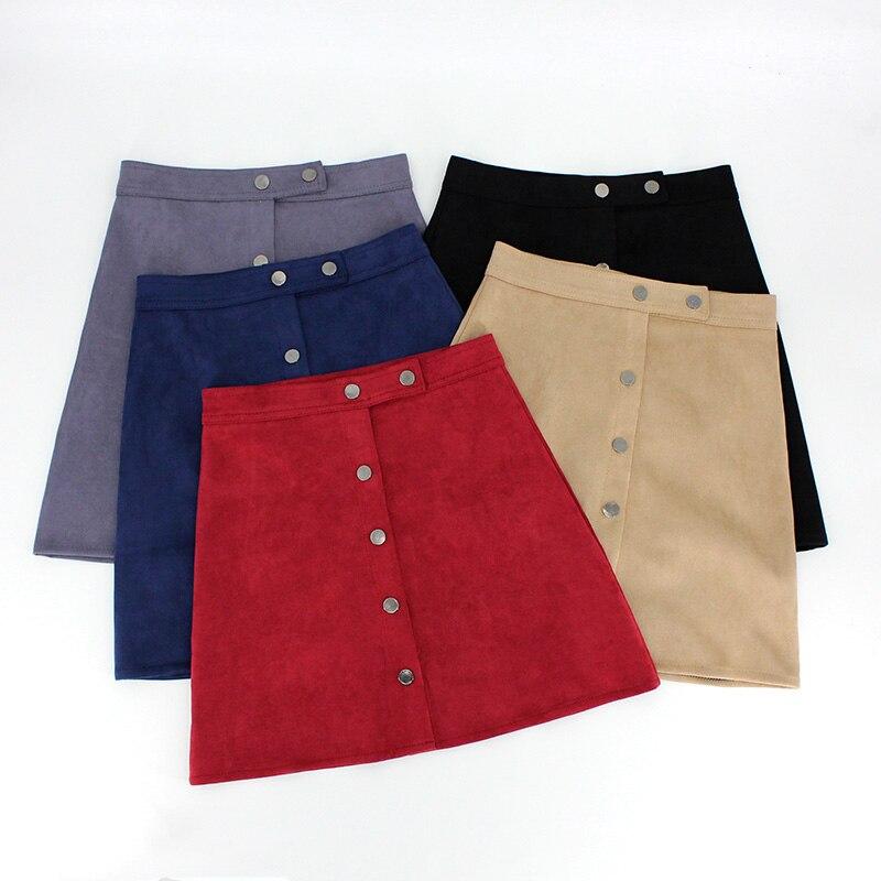 2018 Winter Women Casual Mini Skirt High Waist   Suede     Leather   Button Pencil Skirts Sexy Party Saia Korean Style Split Bodycon