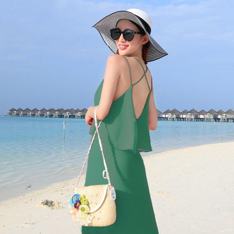 Vendy green V-neck sexy sling maxi women chiffon beach dress maxi women long bandage vestidos largos de verano dresses