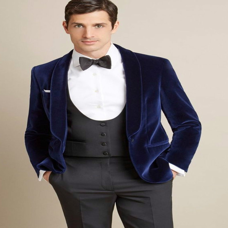 Latest Designs Navy Blue Velvet Blazer Grey Pants Groom Tuxedos Fashion Men Wedding Suits(Jacket+Pant+Vest+Bow) Costume Homme