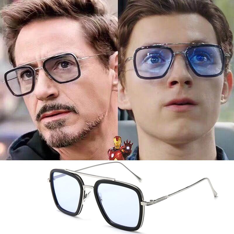 Tony Stark Sunglasses Men Avengers Iron Man Square Sunglasses Retro Gradient Spider Man Edith Glasses Robert Downey Jr Goggles