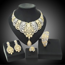 YULAILI High Quality 2017 American Natural Zircon Women Costume Four Pieces Jewelry Sets