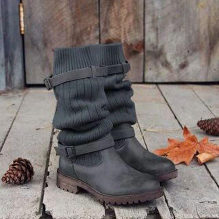 06d987b37d906 V366 marron Mujer Talons Bas Chaussons Glissement Chunky Femme Sapato  mollet Femmes Chaussures Noir Sur Automne gris Dames Zapatos Mi Bottes  zq1xn7aw4U