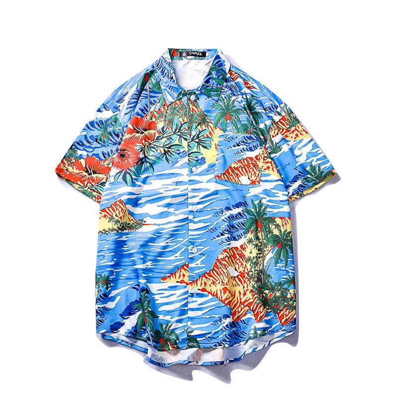 Гавайская Повседневная рубашка с принтом, рубашка с короткими рукавами для мужчин и женщин, летняя винтажная рубашка в стиле хип-хоп, уличная Японская уличная одежда, Harujuku