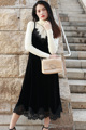 spaghetti strap velvet dress 2017 new fashion high quality runway lace dress