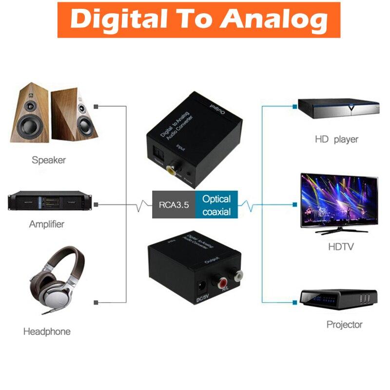 DC 5 V Digitale a Fibra Ottica Coassiale RCA toslink Segnale Analogico L/R Audio Converter Adapter-bit S/PDIF In Entrata Flusso di Bit