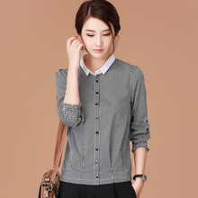 Spring and summer new loose Black and white plaid POLO collar shirt thin long sleeve shirt Big size women's Commute Tops