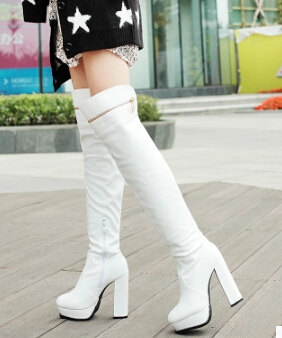 1-free shipping 2015 European hot popular winter shoes women botas knee high boots fashion thick heel zip tall boot white 11cm