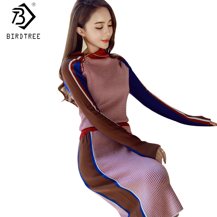 2018 New 2 Pieces Knitting Sets Color block Zipper High Collar Sweater + Fashion Package Hip Knee Skirt Suit Set S81104Z