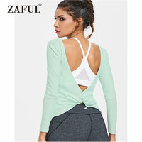 ZAFUL Yoga Shirts Women Ribbed Open Back Long Sleeve Tee Yoga Top Gym Sports Vest Sport Top Fitness Women Fitness Running Shirts