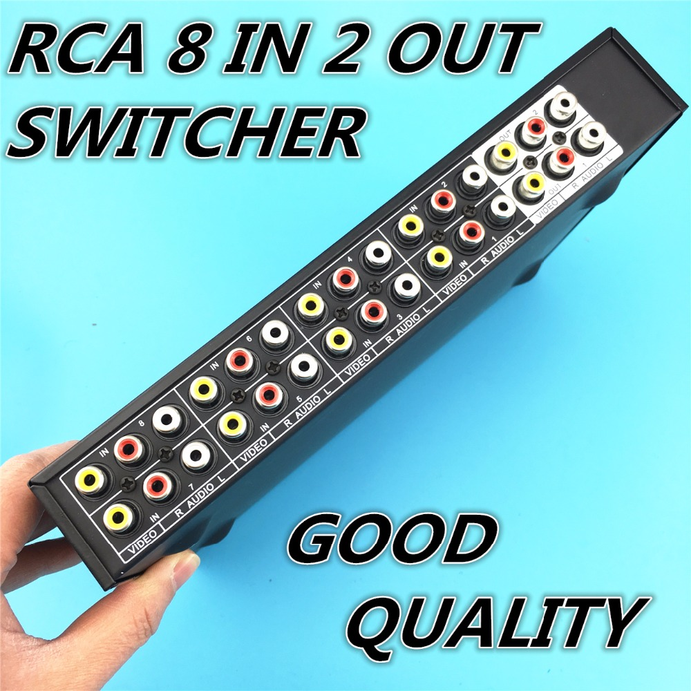 8 Ports 2output Composite 3 RCA Video Audio AV Switch Switcher Box Selector 8 In 1 Out 8x1 8in 2out 8x2 for HDTV LCD DVD