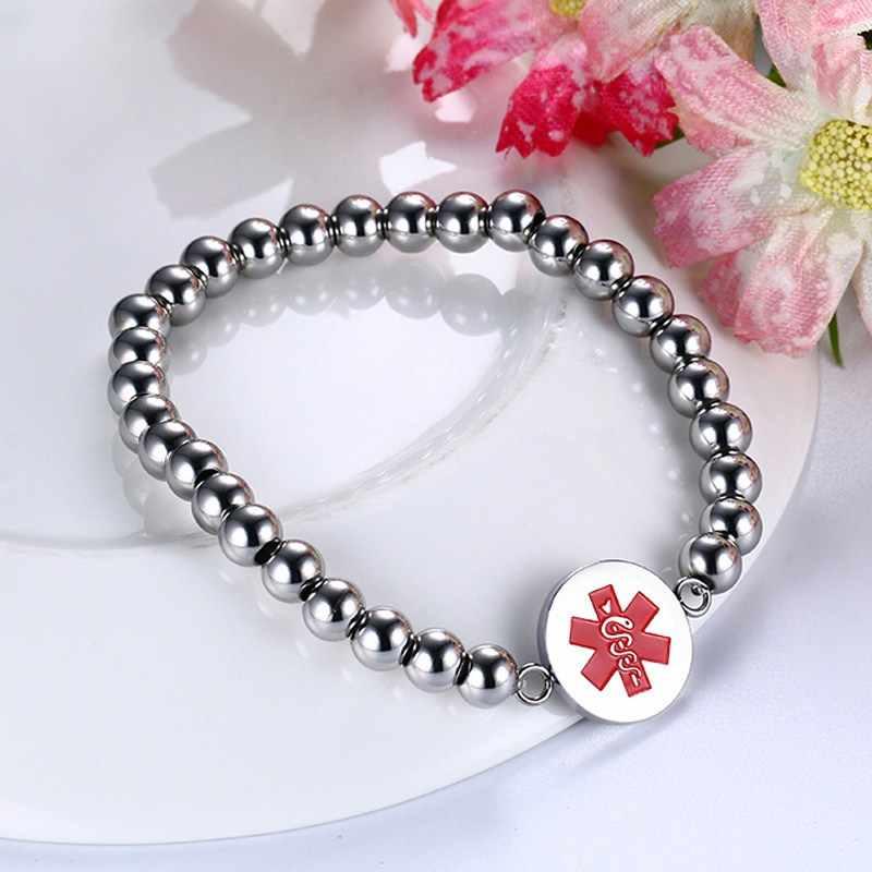 Medical Alert ID Tag Beaded Bracelet for Woman Elasticity Yoga Stainless Steel Fashion Jewelry Femme Bracciale Donna Bracciali