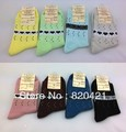 2014 nova 18 PCS = 9 pairs fundos compaixão 100% algodão multicolor meias meias até o joelho meias das mulheres frete grátis