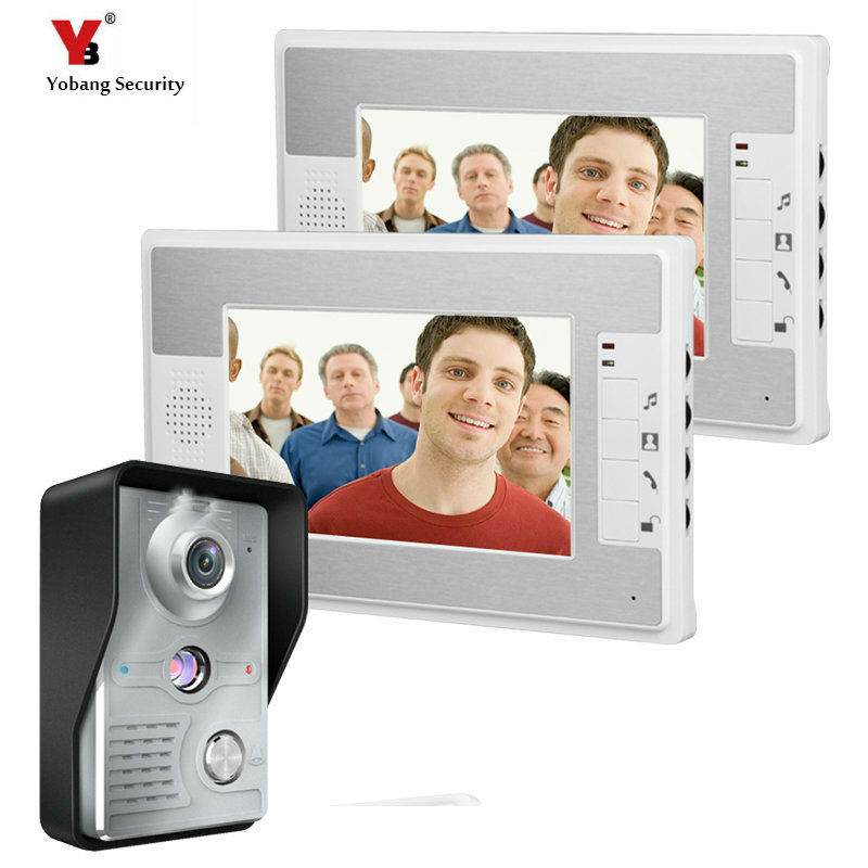 Yobang Security 7 Inch Video Door Phone Doorbell Intercom Kit 1-camera 2-monitor Night Vision Video Doorphone  Video Intercom цена и фото