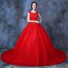 Новые Красные Свадебные платья с аппликацией Гламурное бальное