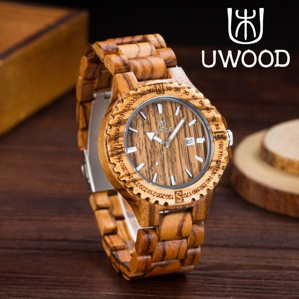 ФОТО Fashion!! Men's Wooden Watch Luxury Quartz casual watches for man famous Brand UWOOD  watch chrismas gift wooden watch