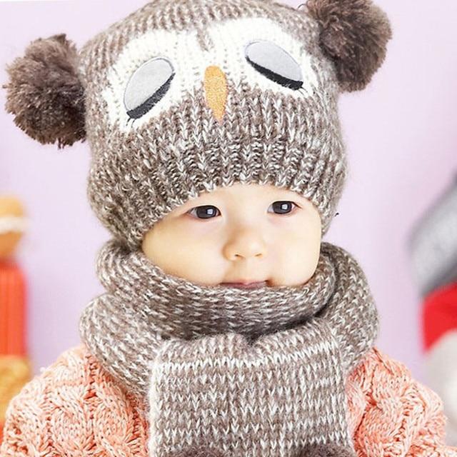f01d5fda1 Ganchillo bebé sombrero 2018 invierno búho del bebé sombreros y bufandas para  niños y niñas de