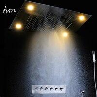 Роскошный светодио дный светодиодный дождевой Душ большой дождсветодио дный светодиодный душевой набор и водопад душевая головка со встро
