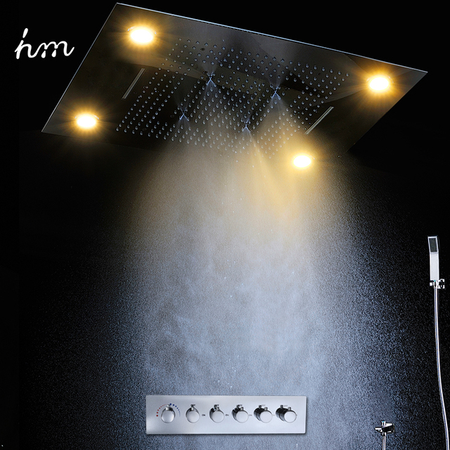 Luxury Led Rain Shower Head Large Rain LED Shower Set & Waterfall Shower Head with Embedded Ceiling Spout Bath & Shower Faucets
