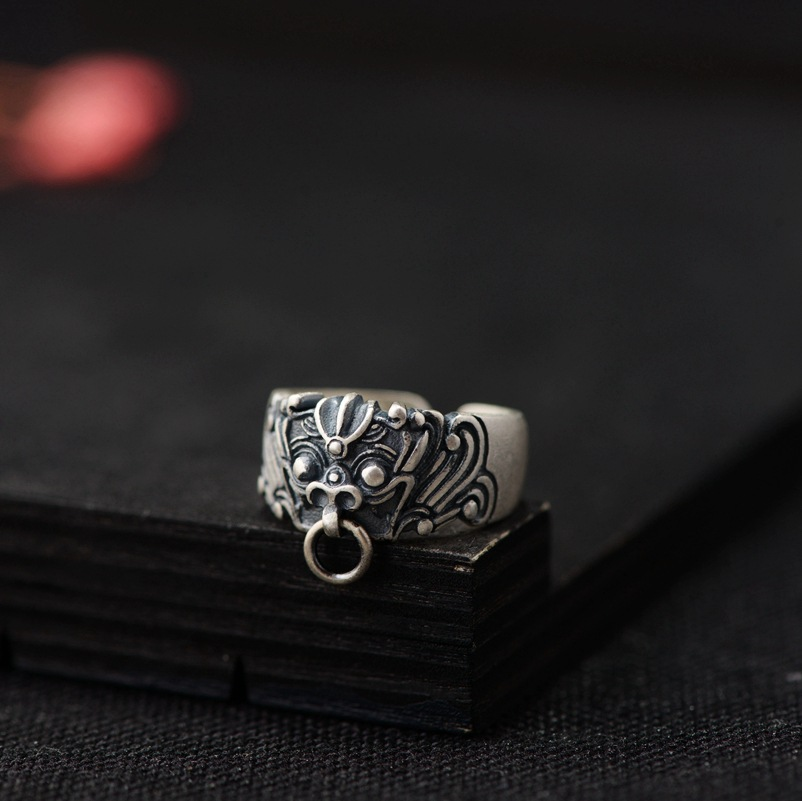 BALMORA 990 Pure Silver Ancient Chinese Animal Rings for Men Dragon Open Ring Vintage Thai Silver Jewelry High Quality SY21944