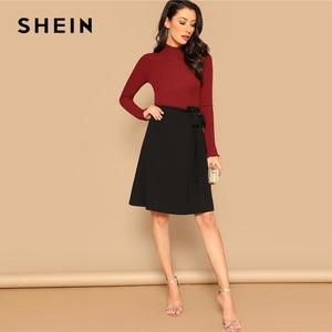 Image 4 - SHEIN Black Knot Side Solid High Waist A Line Knee Length Skirt Women Office Lady Spring 2019 Summer Elegant Workwear Skirts