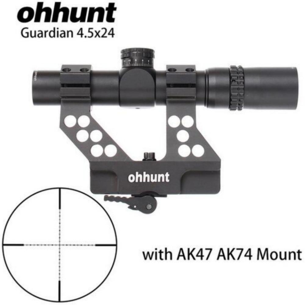 все цены на ohhunt Guardian 4.5x24 Hunting Rifle Scope 30mm Tube Tactical Optics Sight 1/2 Half Mil Dot Reticle Turrets Reset Riflescope онлайн
