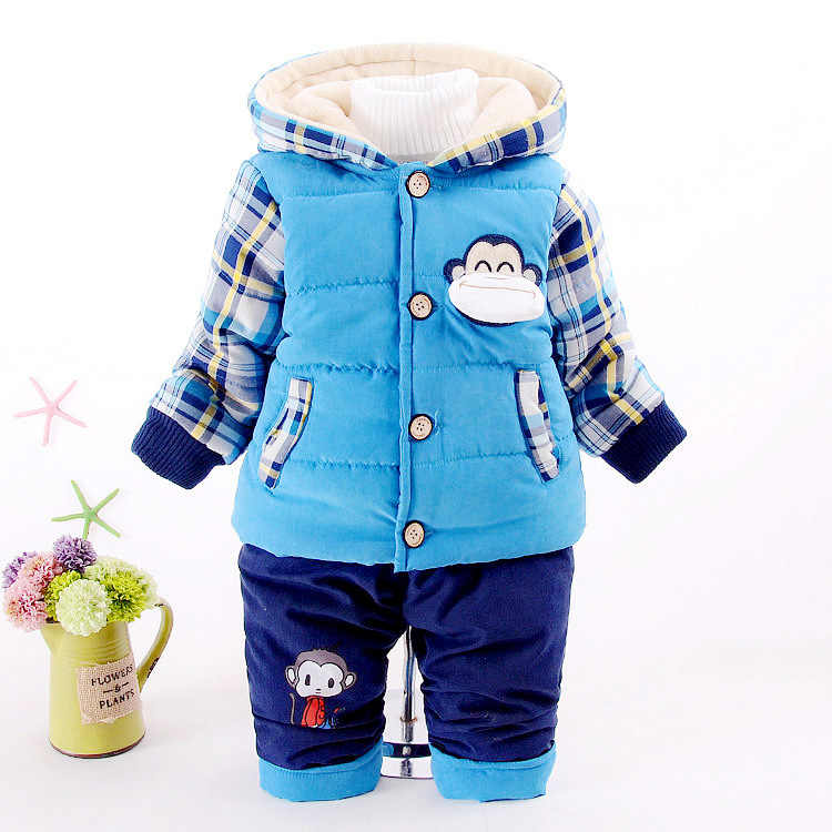 男の赤ちゃんジャケットかわいい猿冬暖かいコート子供のアウターウェア子供服綿厚いパーカー少年服在庫