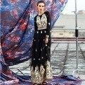 XL!Top Quality New Vestido Women Luxury Golden Embroidery Long Sleeve Floor-Length Elegant Long Dress For Party Evening Elegant