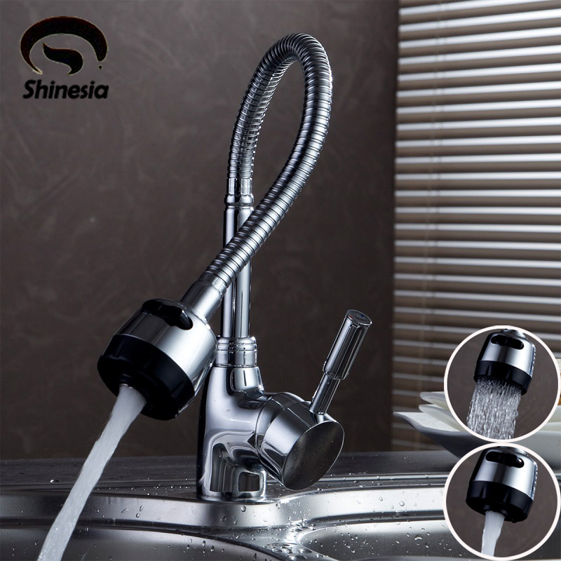 Silver Double Handle Kitchen Faucet Mixer Cold and Hot Kitchen Tap Single Hole Water Tap Chrome