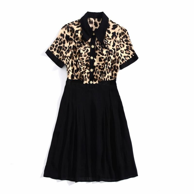 Impression Pour Ressort 2019 Mignon Volants Ligne Femme Léopard Noir D'été Une Qualité Fête Bureau Robe À De Nouveau Haute Dame Mince Vêtement IwfqTPYT