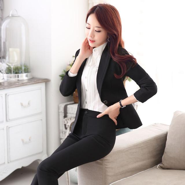 Outono Inverno Feminino Pantsuits Formal Preto Com Jaquetas E Calças de Negócios Profissional Desgaste do Trabalho Ternos Calças Das Senhoras Conjunto