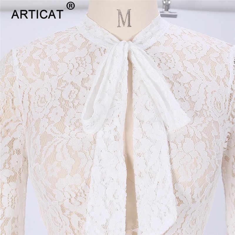 Articat осенние элегантные кружева Bodycon комбинезон Для женщин пикантные Фонари рукавом выдалбливают боди Повседневное плиссированные однотонные белые уличная