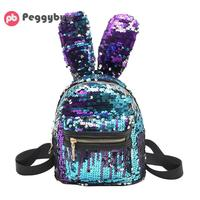 Mini Shining Sequins Backpacks Cute Big Rabbit Ear Shoulder Bags For Baby Girls Blingbling Small