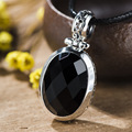 2017 New Simple Fine Jewelry Statement Necklace Black Onyx 925 Sterling Silver Collier Collares agate Necklaces & Pendants women