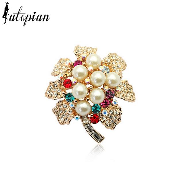 Iutopian elegante pérola flor broches com cristal austríaco stellux top quality genuine cristal austríaco # ra50385
