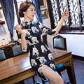 TIC-TEC chinese traditional dress women cheongsam short qipao vintage print slim elegant oriental dresses wedding clothes P3230