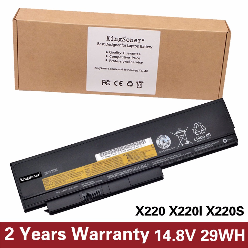 Japanese Cell KingSener New Laptop Battery for Lenovo ThinkPad X220 X220I X220S 0A36283 42T4899 42T4900 14.8V 29WH 4CELL