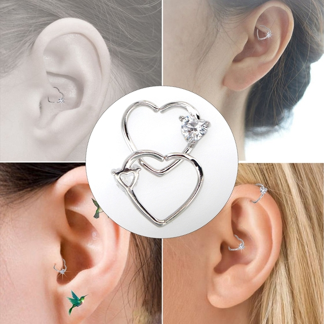 Body Punk Jewelry Heart Cz Left Closure Daith Piercing 16 Gauge Tragus Earrings 5 Colors