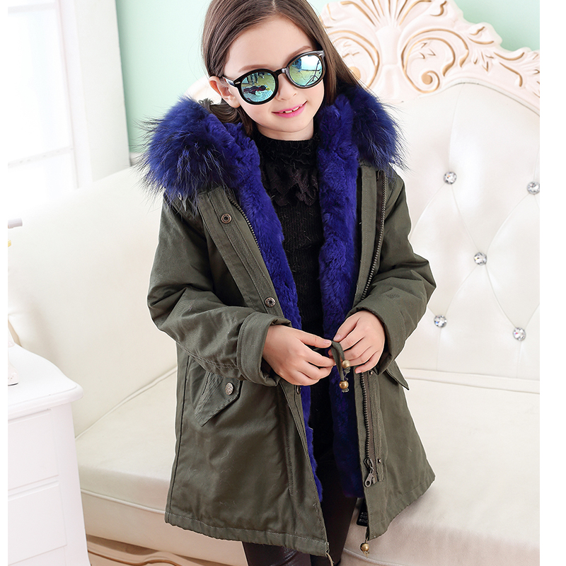 Army Green Parpas Coat Grils Rabbit Natual Fur Coat Winter Kids Warm Coat Raccoon Fur Collar Parkas Long Detachable Coat C#02