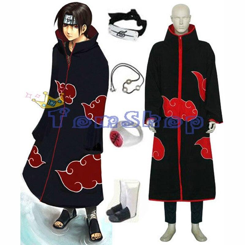 Anime Naruto Akatsuki Itachi Cosplay Uniform 5 in 1 Halloween Costumes Suit Cloak Headband Ninja Shoes