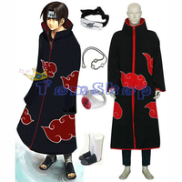 Anime Naruto Akatsuki Itachi Cosplay Uniform 5 in 1 Halloween Costumes Suit (Cloak + Headband + Ninja Shoes + Necklace + Ring)