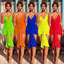 Sexy Bandage Backless Bodycon Dress Women Sleeveless Halter Summer Dress Tassel Short Party Casual Mini Dress
