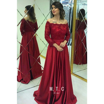 Long Sleeve Burgundy Arabic Evening Dress 2019 Gorgeous Lace Satin A Line Off The Shoulder Formal Occasion Dresses Custom Made