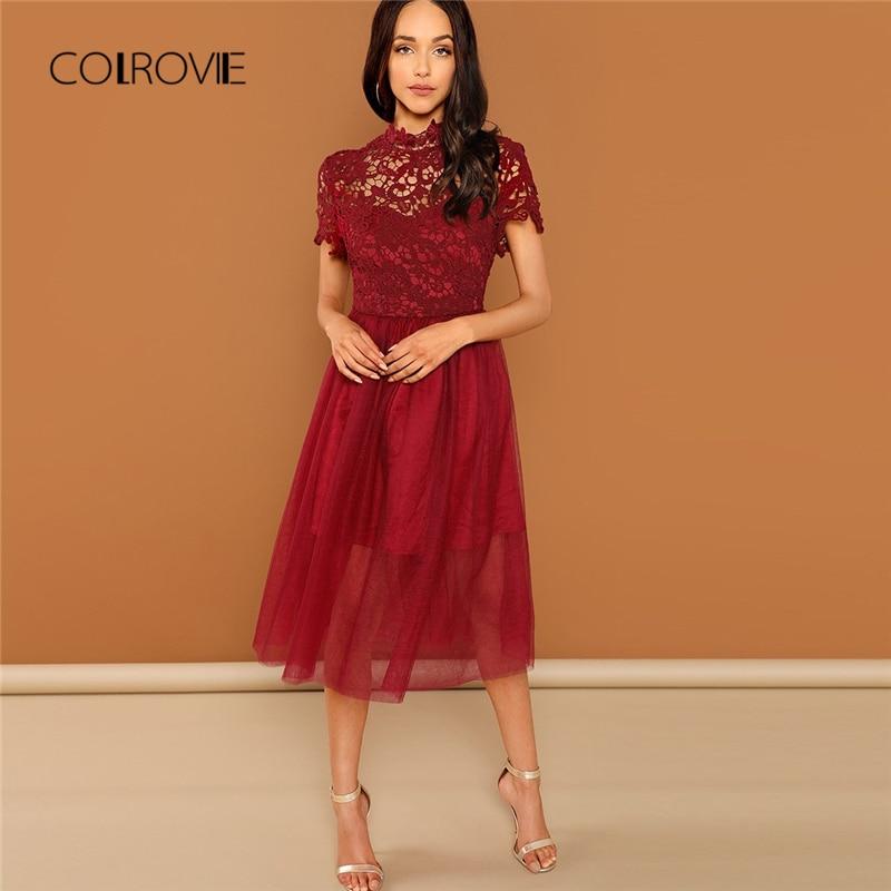 90b9b63aab53 Cintura Elegante Dulce Rojo Burgundy De Floral Encaje Las Colrovie ...