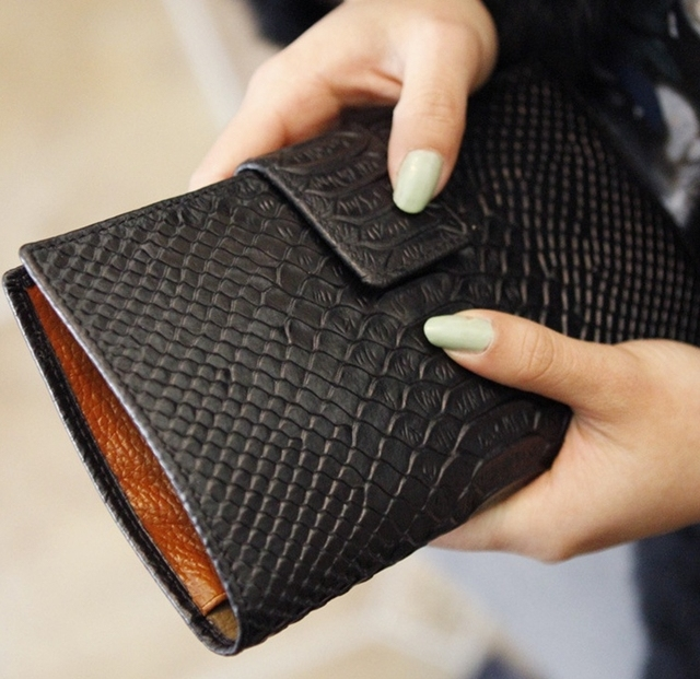 Мода картины крокодила длиной клатч натуральная кожа женщины дамы кошелек девушка сумочка прямая поставка WBG0275