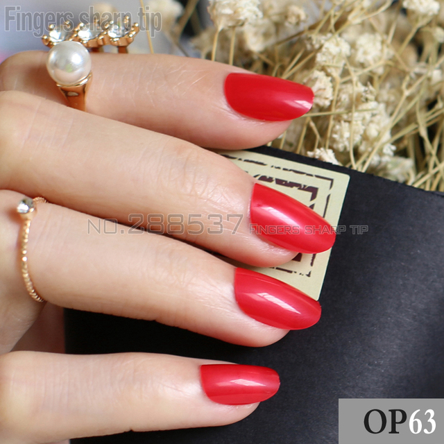 24pcs New Product Hot Sales Candy Oval Decorative Fake Nails Short Round Section Sexy Red Comfortable