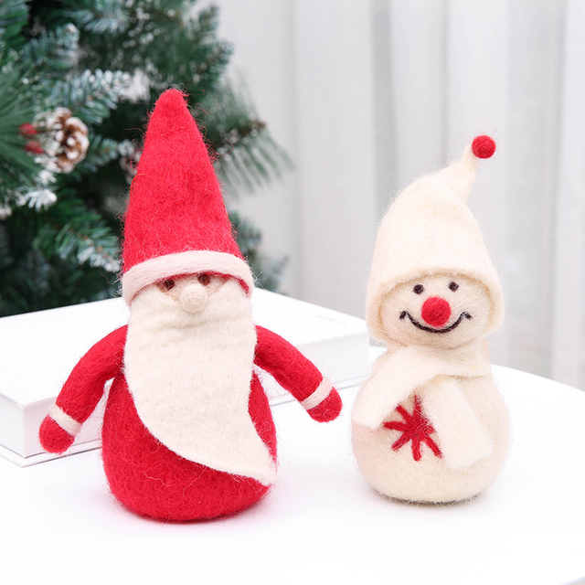 2018 new korean style wool felt christmas elderly snowman desktop christmas ornaments christmas gift decorations - Christmas Gift Decorations