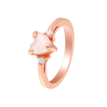 VNFURU Stylish Heart Shape Finger Rings Pink Opal For Elegant Women Silver Color Filled Jewelry Party