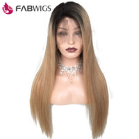 Fabwigs 1b/27 Ombre Hair Full Lace Wig with Baby Hair Pre Plucked 150% Density Brazilian Silky Straight Remy Human Hair Wig