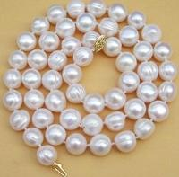 Beautiful 11 13mm South Sea White Baroque Pearl Necklace 20 inch free shipping